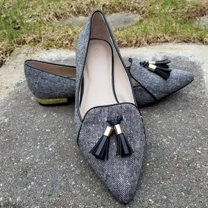 Classy fabric flats with tassles and gold heels